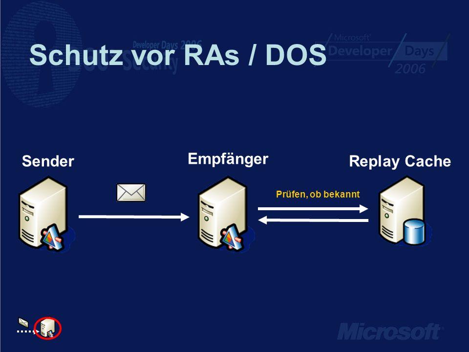 Schutz vor RAs / DOS Empfänger SenderReplay Cache Prüfen, ob bekannt