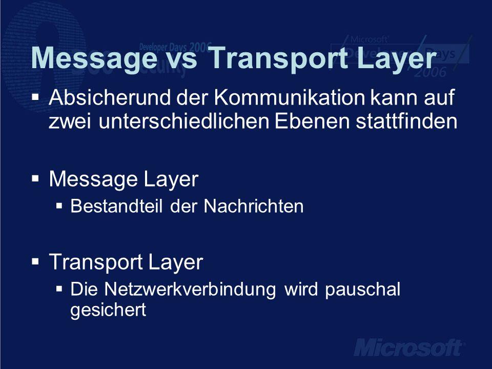 Message vs Transport Layer Absicherund der Kommunikation kann auf zwei unterschiedlichen Ebenen stattfinden Message Layer Bestandteil der Nachrichten