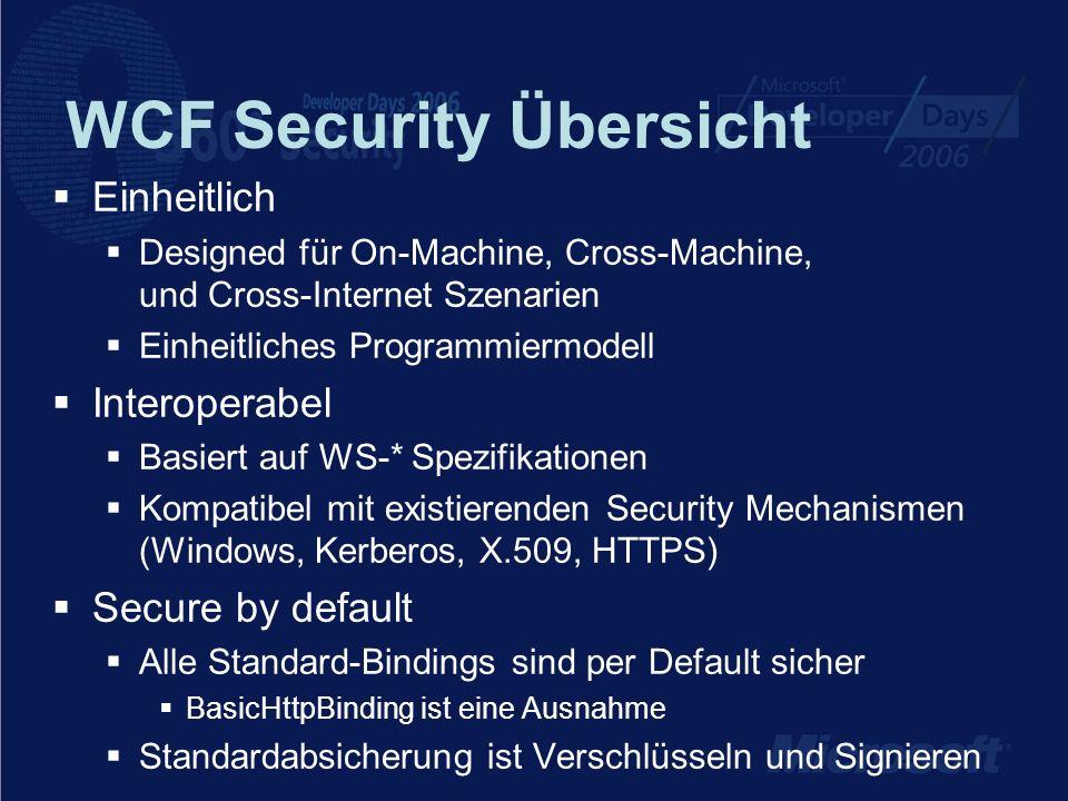 WCF Security Übersicht Einheitlich Designed für On-Machine, Cross-Machine, und Cross-Internet Szenarien Einheitliches Programmiermodell Interoperabel