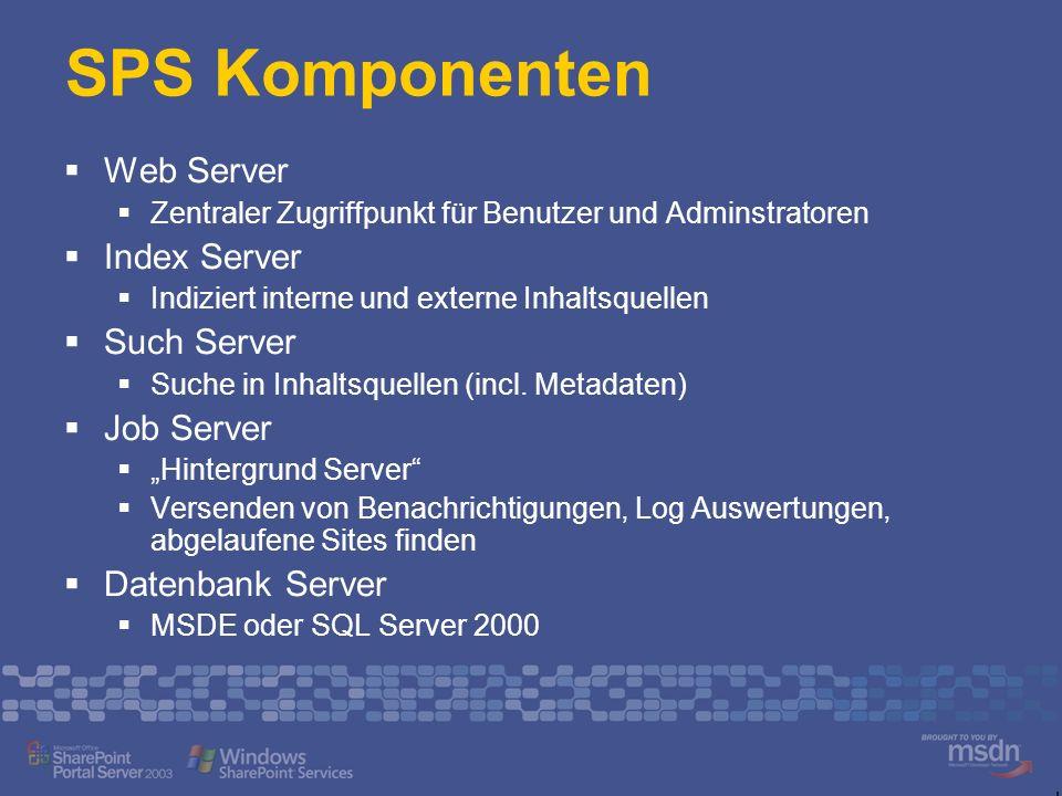 SPS Komponenten Web Server Zentraler Zugriffpunkt für Benutzer und Adminstratoren Index Server Indiziert interne und externe Inhaltsquellen Such Server Suche in Inhaltsquellen (incl.