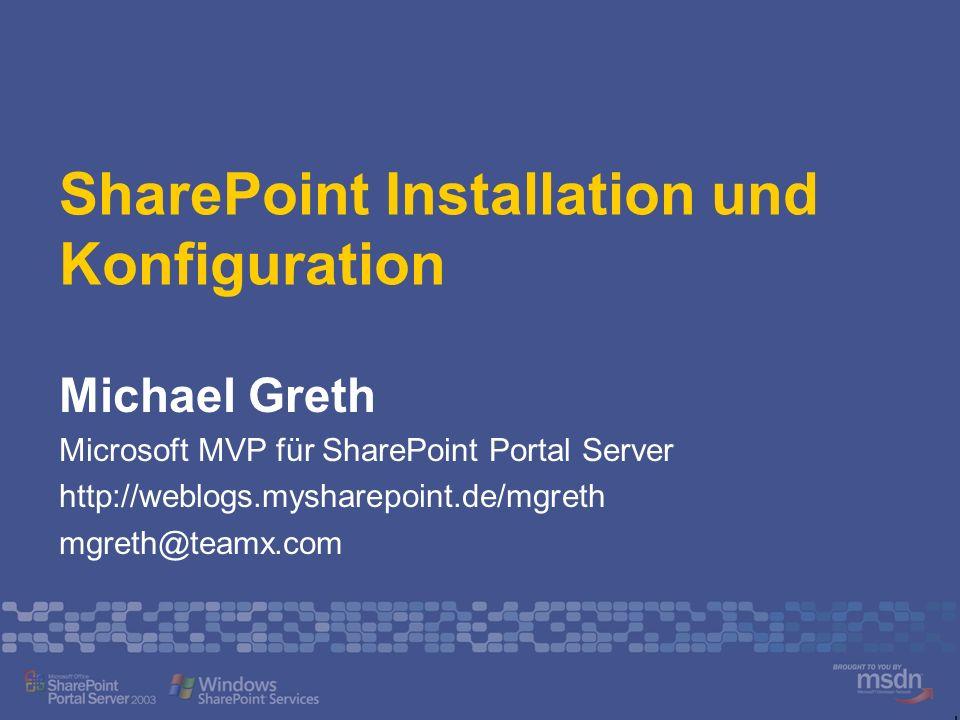 Referent Michael Greth MVP seit 1998 Beratung und Training SharePoint Technologien Verbände Communities www.mysharepoint.de www.v-info.de
