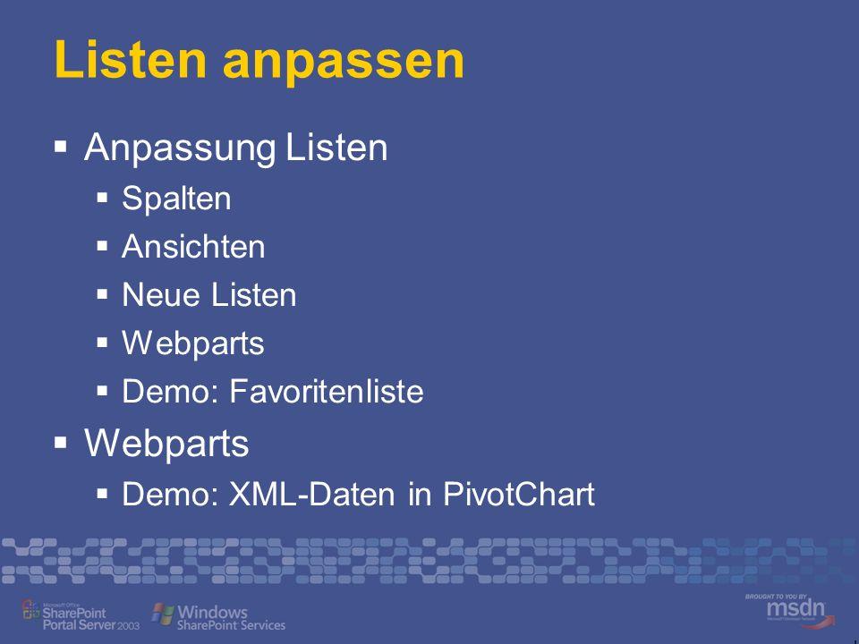 Listen anpassen Anpassung Listen Spalten Ansichten Neue Listen Webparts Demo: Favoritenliste Webparts Demo: XML-Daten in PivotChart