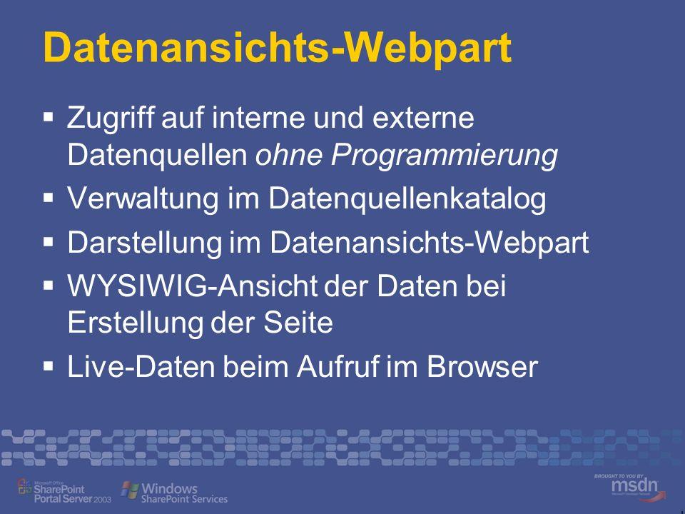 Datenansichts-Webpart Zugriff auf interne und externe Datenquellen ohne Programmierung Verwaltung im Datenquellenkatalog Darstellung im Datenansichts-Webpart WYSIWIG-Ansicht der Daten bei Erstellung der Seite Live-Daten beim Aufruf im Browser