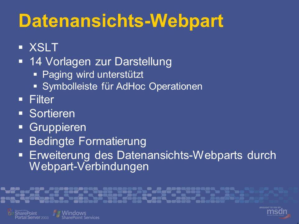 XSLT 14 Vorlagen zur Darstellung Paging wird unterstützt Symbolleiste für AdHoc Operationen Filter Sortieren Gruppieren Bedingte Formatierung Erweiterung des Datenansichts-Webparts durch Webpart-Verbindungen
