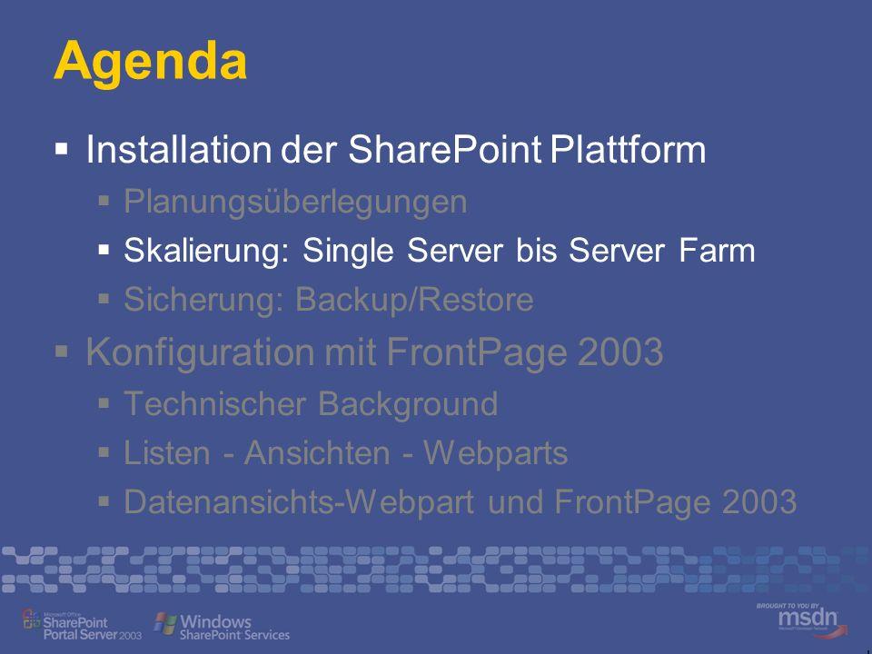 Single Box Alle WSS Komponenten auf einem Server Einsatzbereiche Arbeitsgruppen Kleine Unternehmen Vollständige WSS Installation Small Business Server 2003 Standard IIS, WSS und ASP.NET Content DB Config DB WMSDE