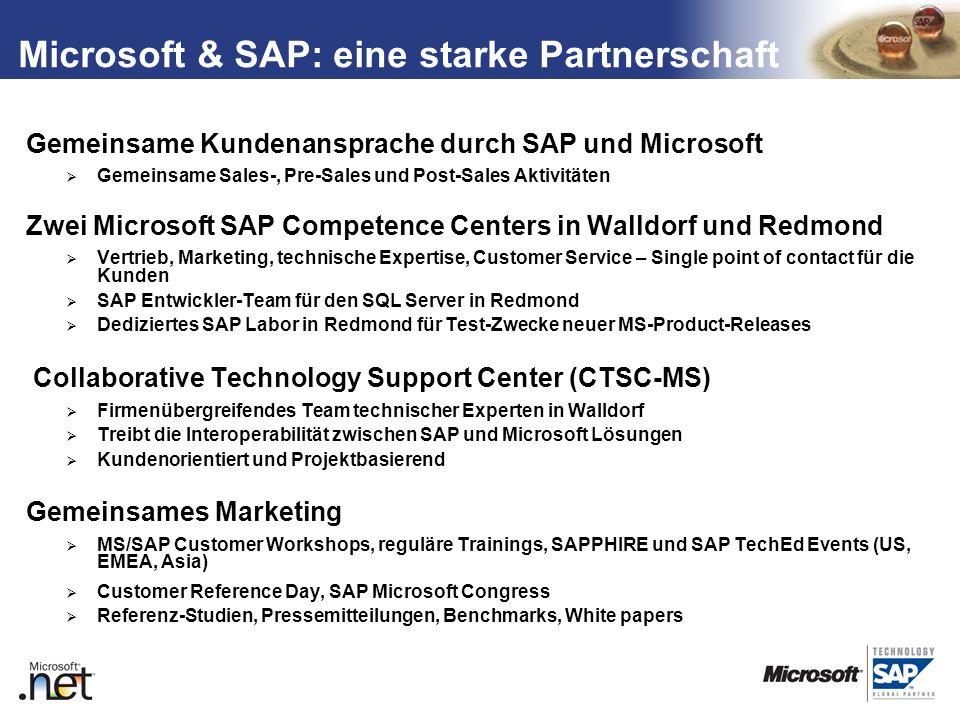 TM Microsoft & SAP: eine starke Partnerschaft Gemeinsame Kundenansprache durch SAP und Microsoft Gemeinsame Sales-, Pre-Sales und Post-Sales Aktivität