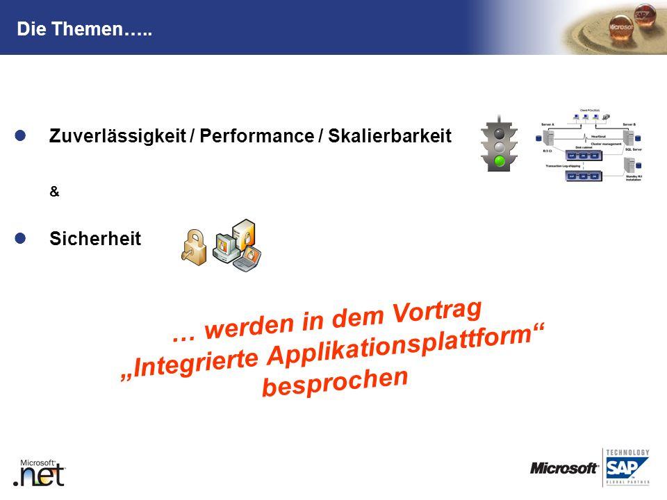 TM Die Themen….. Zuverlässigkeit / Performance / Skalierbarkeit & Sicherheit … werden in dem Vortrag Integrierte Applikationsplattform besprochen