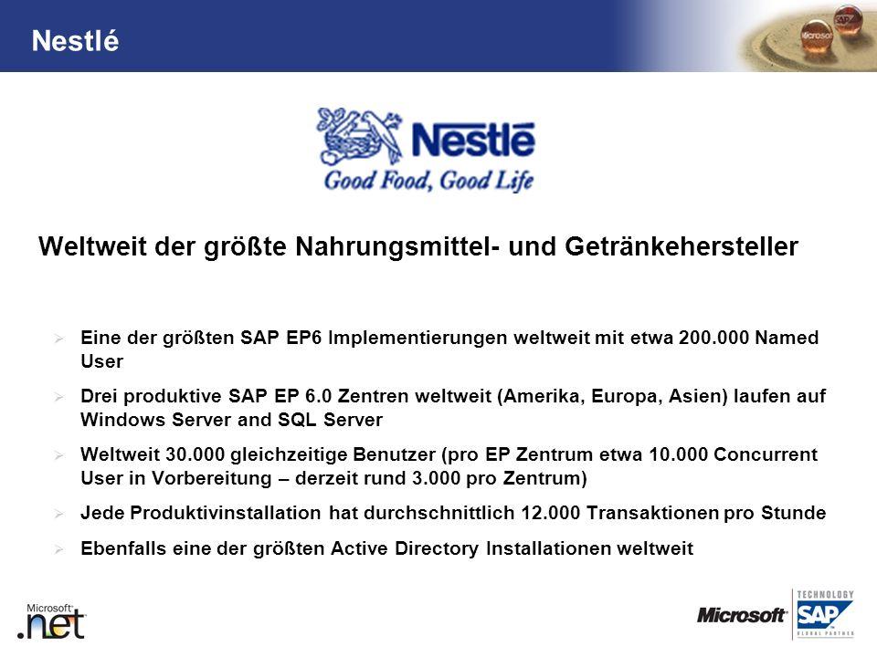 TM Weltweit der größte Nahrungsmittel- und Getränkehersteller Eine der größten SAP EP6 Implementierungen weltweit mit etwa 200.000 Named User Drei pro