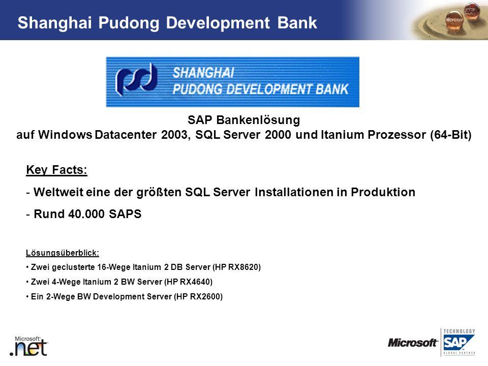 TM Shanghai Pudong Development Bank Key Facts: - Weltweit eine der größten SQL Server Installationen in Produktion - Rund 40.000 SAPS Lösungsüberblick
