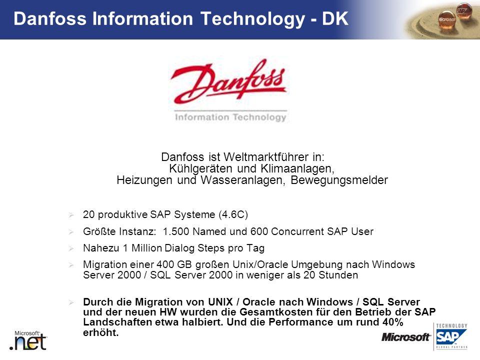 TM Danfoss ist Weltmarktführer in: Kühlgeräten und Klimaanlagen, Heizungen und Wasseranlagen, Bewegungsmelder 20 produktive SAP Systeme (4.6C) Größte