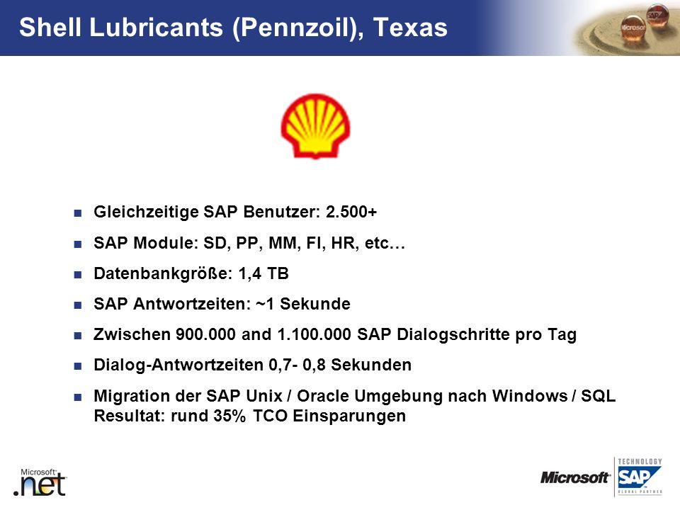TM Shell Lubricants (Pennzoil), Texas Gleichzeitige SAP Benutzer: 2.500+ SAP Module: SD, PP, MM, FI, HR, etc… Datenbankgröße: 1,4 TB SAP Antwortzeiten
