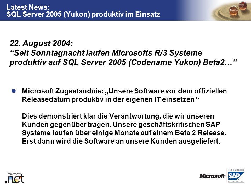 TM Latest News: SQL Server 2005 (Yukon) produktiv im Einsatz Microsoft Zugeständnis: Unsere Software vor dem offiziellen Releasedatum produktiv in der