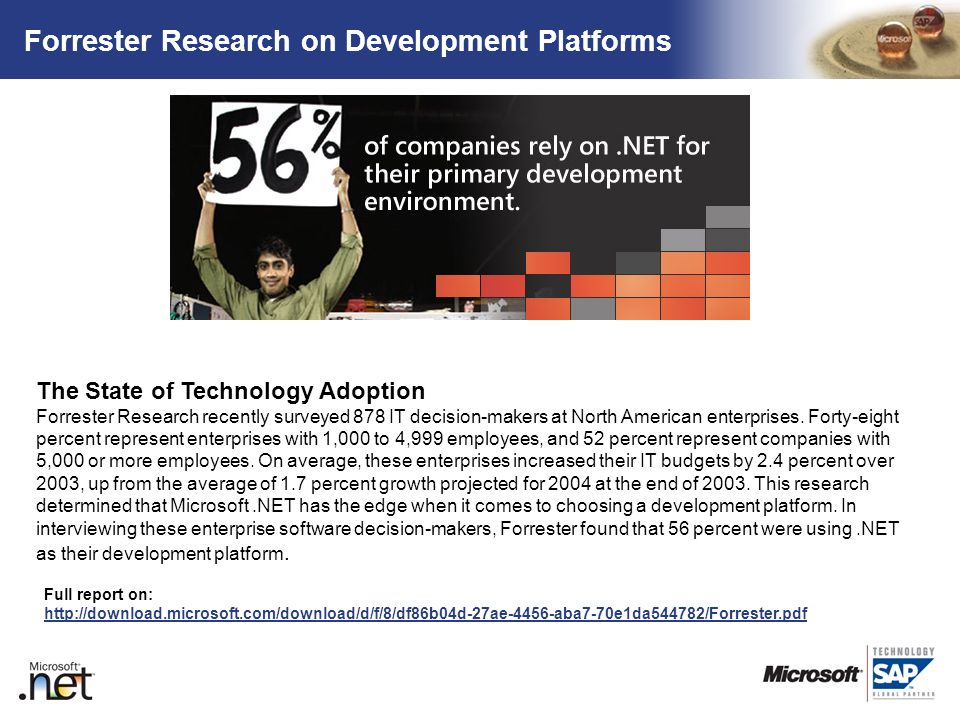 TM Forrester Research on Development Platforms The State of Technology Adoption Forrester Research recently surveyed 878 IT decision-makers at North A