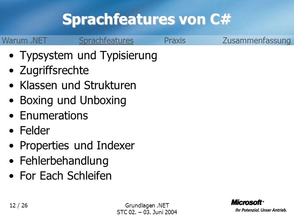 Grundlagen.NET STC 02. – 03. Juni 2004 12 / 26 Sprachfeatures von C# Typsystem und Typisierung Zugriffsrechte Klassen und Strukturen Boxing und Unboxi