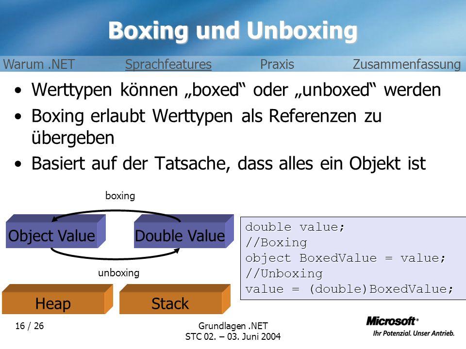 Grundlagen.NET STC 02. – 03. Juni 2004 16 / 26 Boxing und Unboxing Werttypen können boxed oder unboxed werden Boxing erlaubt Werttypen als Referenzen