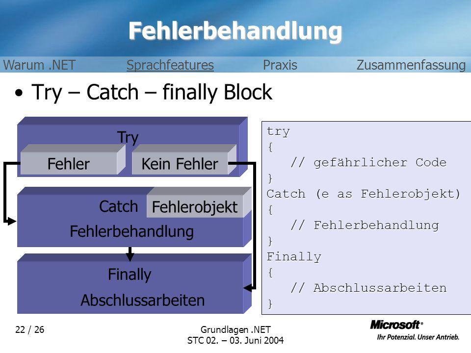 Grundlagen.NET STC 02. – 03. Juni 2004 22 / 26Fehlerbehandlung Try – Catch – finally Block Try FehlerKein Fehler Fehlerobjekt Fehlerbehandlung Finally
