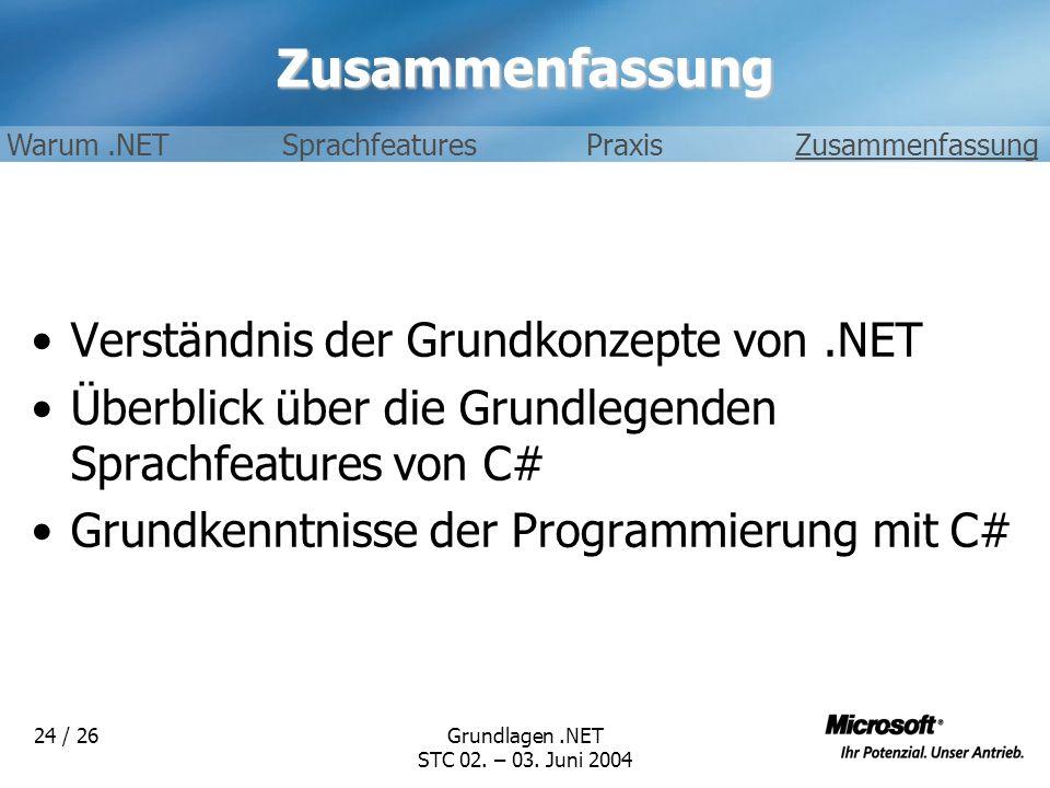 Grundlagen.NET STC 02. – 03. Juni 2004 24 / 26Zusammenfassung Verständnis der Grundkonzepte von.NET Überblick über die Grundlegenden Sprachfeatures vo