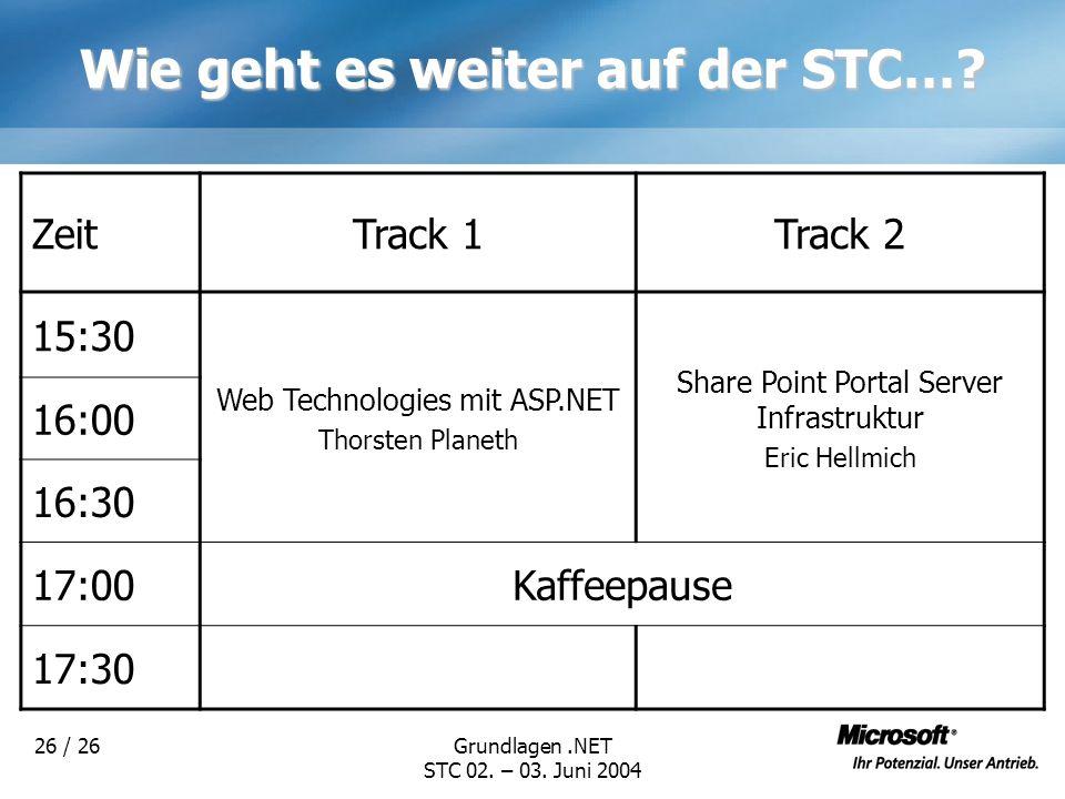 Grundlagen.NET STC 02. – 03. Juni 2004 26 / 26 Wie geht es weiter auf der STC…? ZeitTrack 1Track 2 15:30 Web Technologies mit ASP.NET Thorsten Planeth