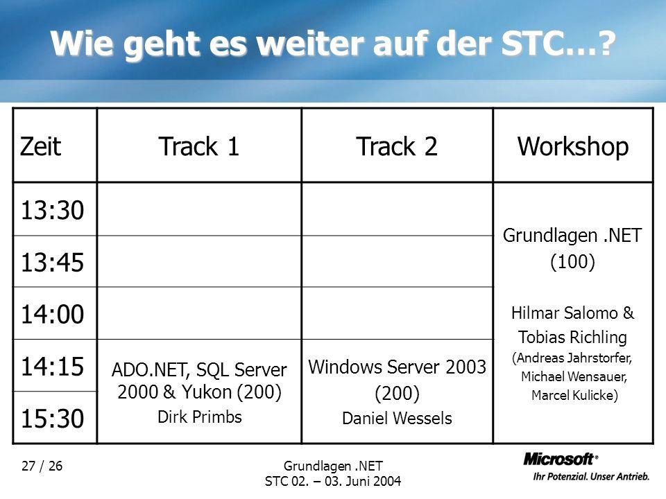 Grundlagen.NET STC 02. – 03. Juni 2004 27 / 26 Wie geht es weiter auf der STC…? ZeitTrack 1Track 2Workshop 13:30 Grundlagen.NET (100) Hilmar Salomo &