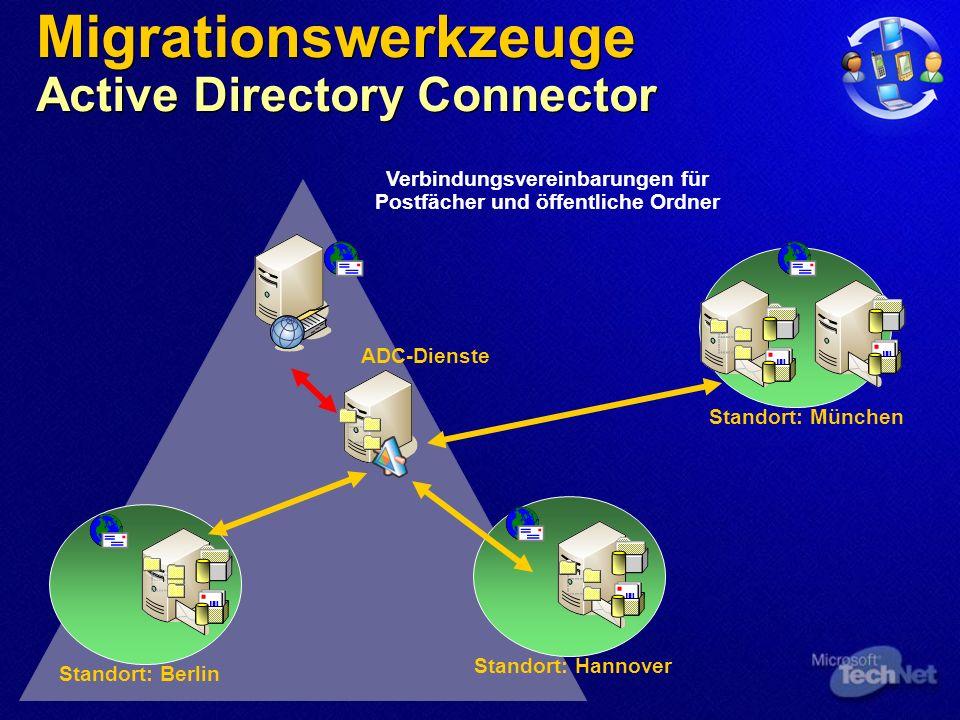 Standort: Berlin Standort: Hannover Standort: München ADC-Dienste Migrationswerkzeuge Active Directory Connector Verbindungsvereinbarungen für Postfächer und öffentliche Ordner