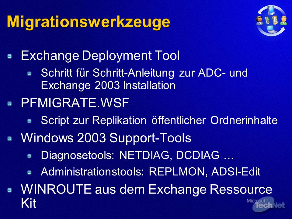 Migrationswerkzeuge Exchange Deployment Tool Schritt für Schritt-Anleitung zur ADC- und Exchange 2003 Installation PFMIGRATE.WSF Script zur Replikation öffentlicher Ordnerinhalte Windows 2003 Support-Tools Diagnosetools: NETDIAG, DCDIAG … Administrationstools: REPLMON, ADSI-Edit WINROUTE aus dem Exchange Ressource Kit