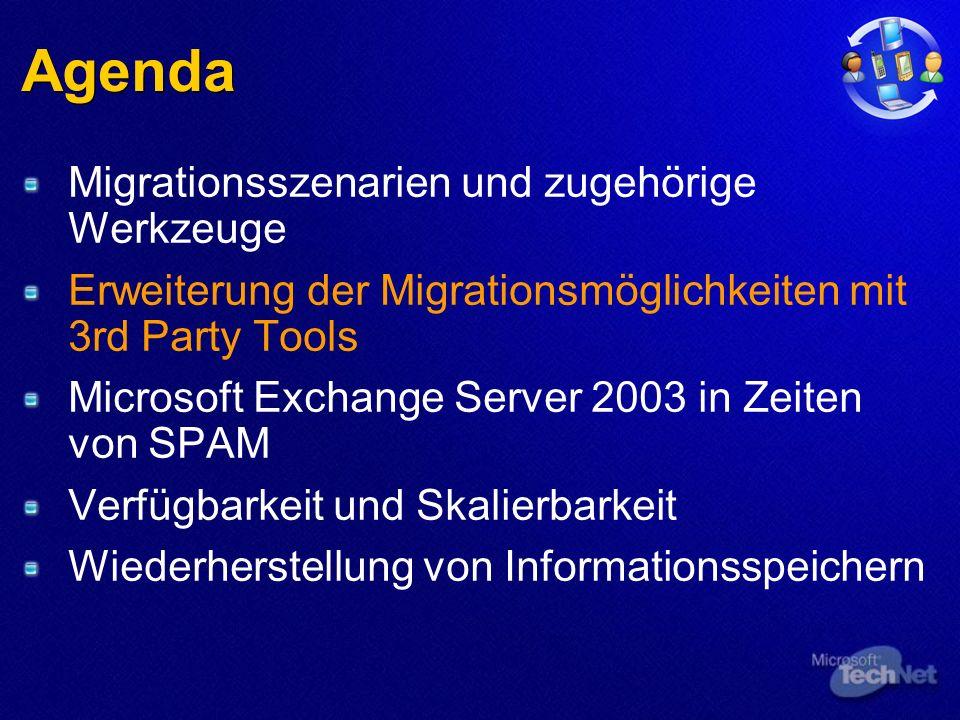 Agenda Migrationsszenarien und zugehörige Werkzeuge Erweiterung der Migrationsmöglichkeiten mit 3rd Party Tools Microsoft Exchange Server 2003 in Zeiten von SPAM Verfügbarkeit und Skalierbarkeit Wiederherstellung von Informationsspeichern