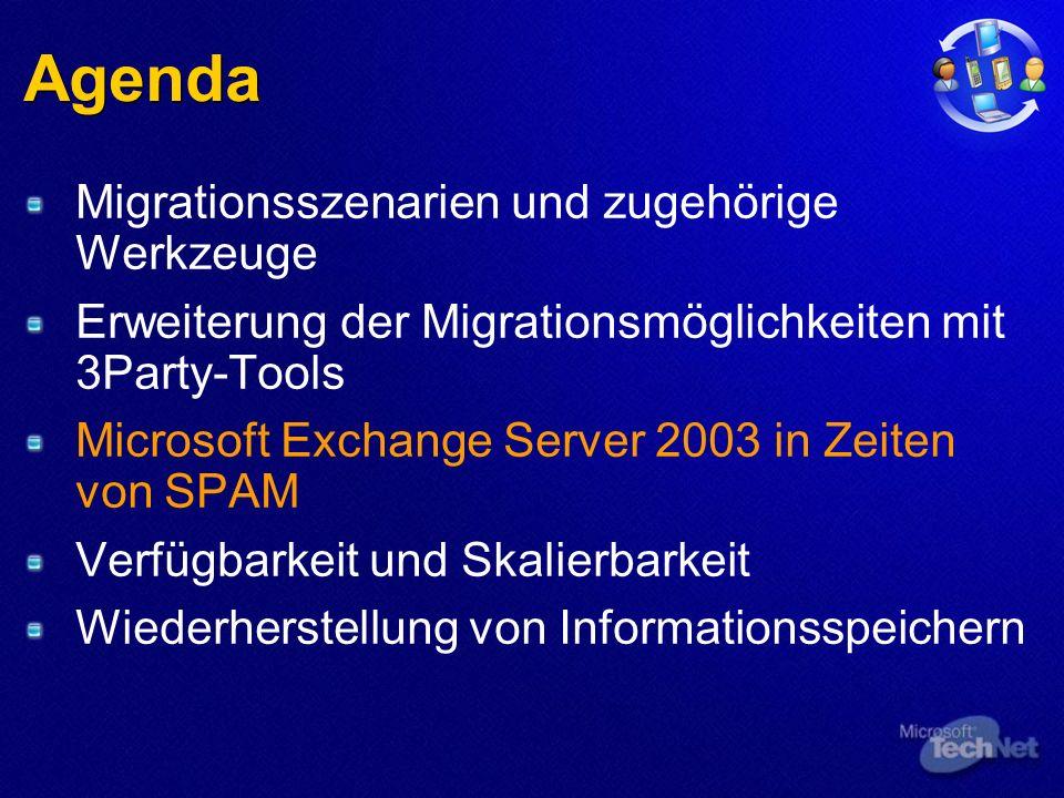 Agenda Migrationsszenarien und zugehörige Werkzeuge Erweiterung der Migrationsmöglichkeiten mit 3Party-Tools Microsoft Exchange Server 2003 in Zeiten von SPAM Verfügbarkeit und Skalierbarkeit Wiederherstellung von Informationsspeichern