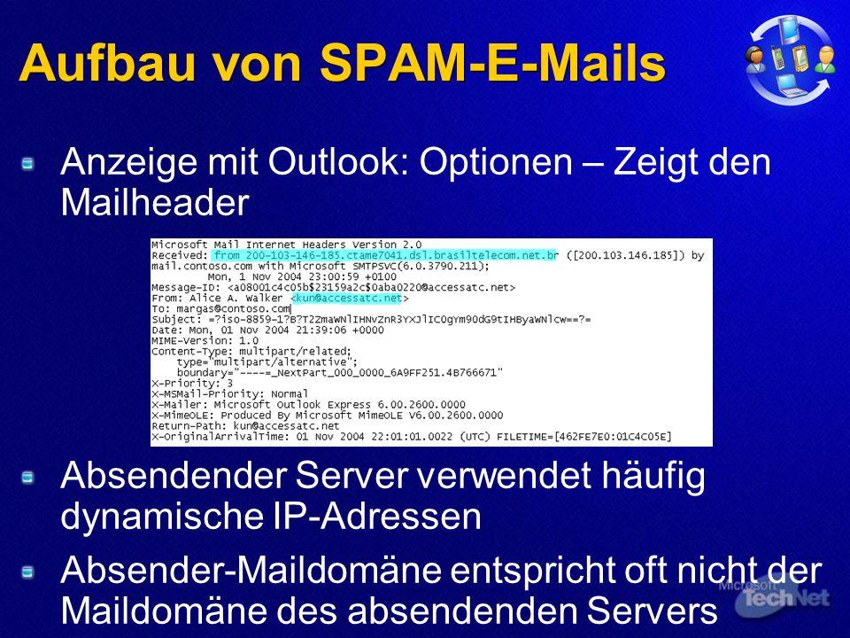 Aufbau von SPAM-E-Mails Anzeige mit Outlook: Optionen – Zeigt den Mailheader Absendender Server verwendet häufig dynamische IP-Adressen Absender-Maildomäne entspricht oft nicht der Maildomäne des absendenden Servers