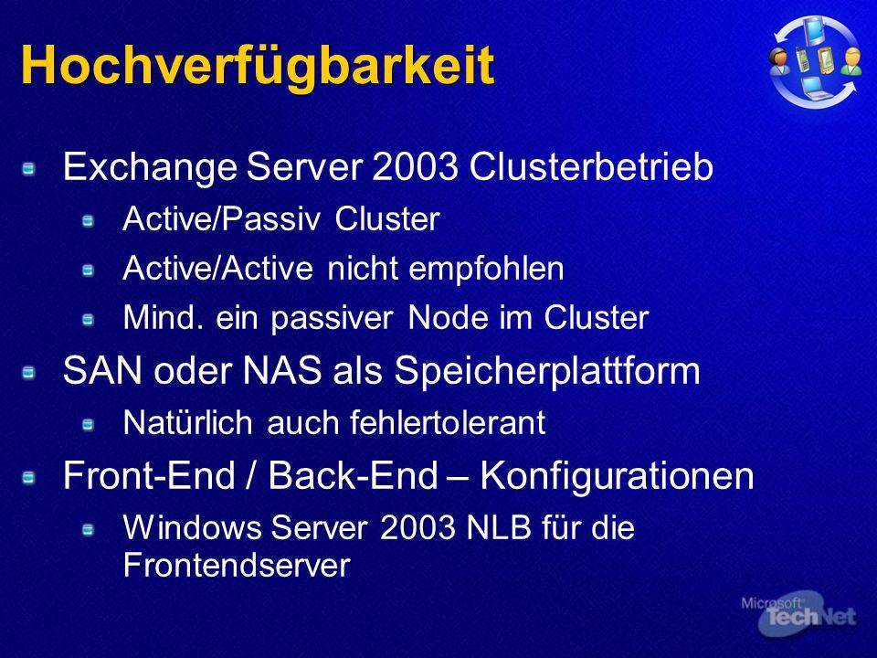 Hochverfügbarkeit Exchange Server 2003 Clusterbetrieb Active/Passiv Cluster Active/Active nicht empfohlen Mind.
