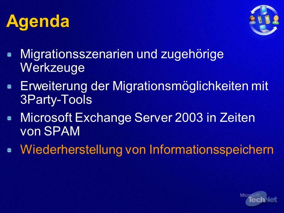 Agenda Migrationsszenarien und zugehörige Werkzeuge Erweiterung der Migrationsmöglichkeiten mit 3Party-Tools Microsoft Exchange Server 2003 in Zeiten von SPAM Wiederherstellung von Informationsspeichern