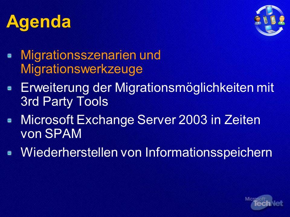Agenda Migrationsszenarien und Migrationswerkzeuge Erweiterung der Migrationsmöglichkeiten mit 3rd Party Tools Microsoft Exchange Server 2003 in Zeiten von SPAM Wiederherstellen von Informationsspeichern