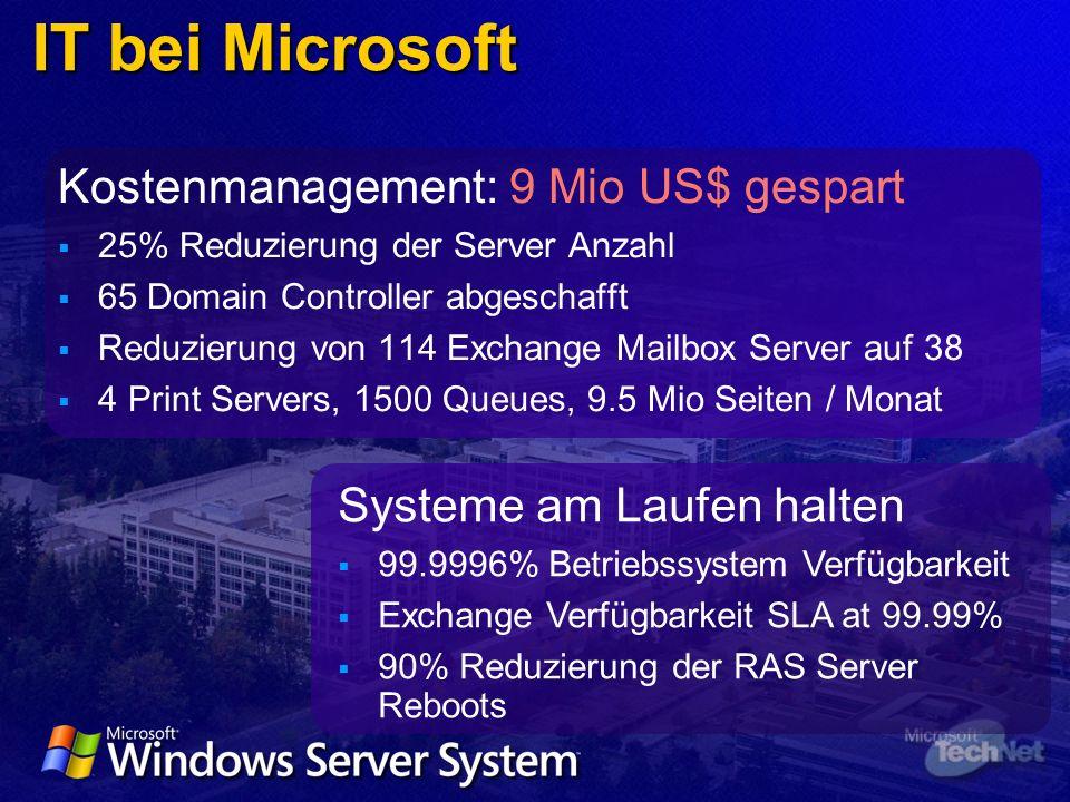 Kostenmanagement: 9 Mio US$ gespart 25% Reduzierung der Server Anzahl 65 Domain Controller abgeschafft Reduzierung von 114 Exchange Mailbox Server auf