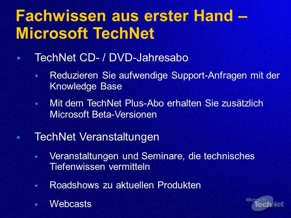 Fachwissen aus erster Hand – Microsoft TechNet TechNet Veranstaltungen Veranstaltungen und Seminare, die technisches Tiefenwissen vermitteln Roadshows