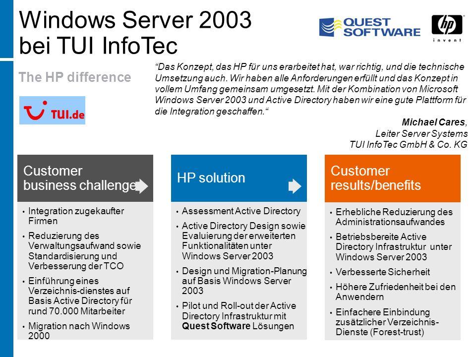 The HP difference Integration zugekaufter Firmen Reduzierung des Verwaltungsaufwand sowie Standardisierung und Verbesserung der TCO Einführung eines V