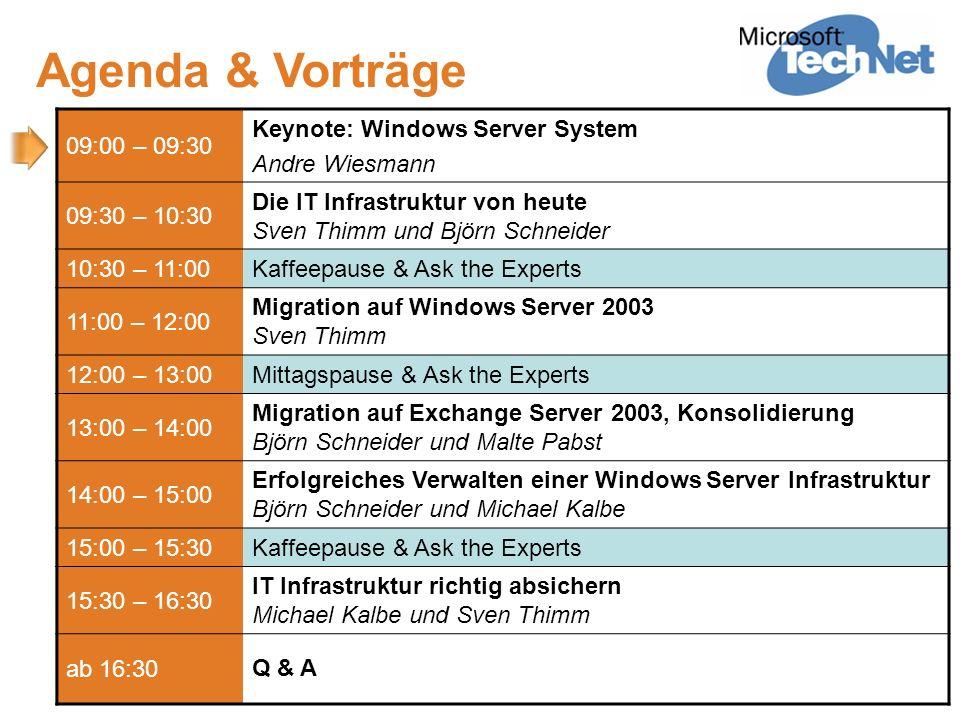 Agenda & Vorträge 09:00 – 09:30 Keynote: Windows Server System Andre Wiesmann 09:30 – 10:30 Die IT Infrastruktur von heute Sven Thimm und Björn Schnei