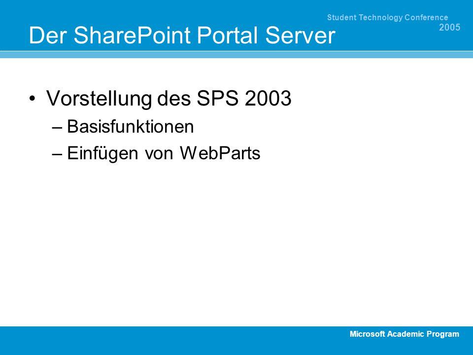 Microsoft Academic Program Student Technology Conference 2005 Der SharePoint Portal Server Vorstellung des SPS 2003 –Basisfunktionen –Einfügen von WebParts