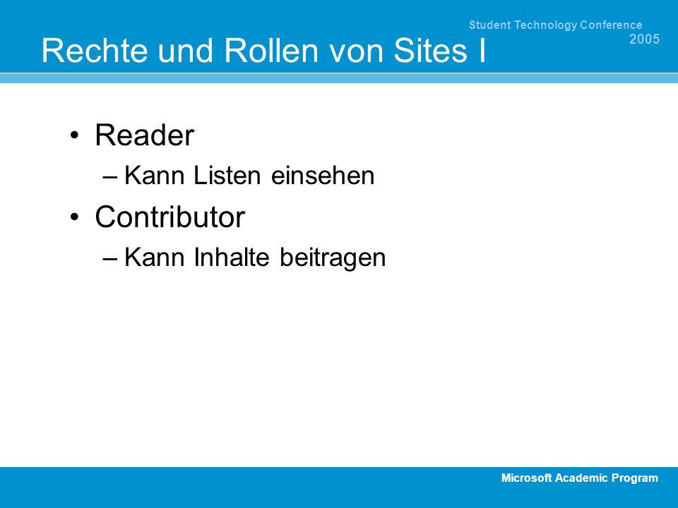 Microsoft Academic Program Student Technology Conference 2005 Rechte und Rollen von Sites I Reader –Kann Listen einsehen Contributor –Kann Inhalte beitragen