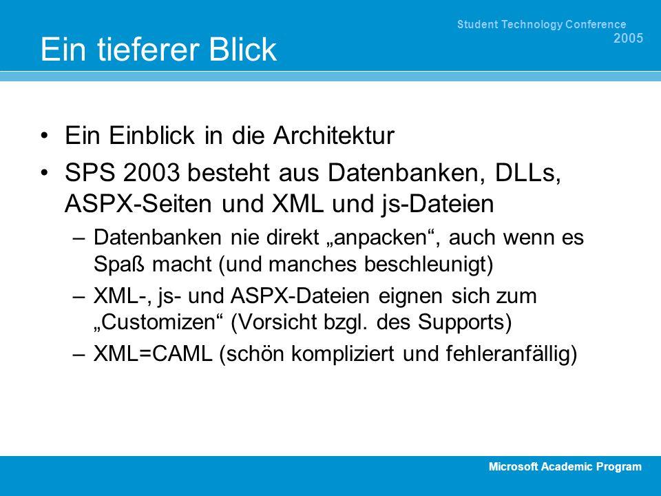 Microsoft Academic Program Student Technology Conference 2005 Ein tieferer Blick Ein Einblick in die Architektur SPS 2003 besteht aus Datenbanken, DLLs, ASPX-Seiten und XML und js-Dateien –Datenbanken nie direkt anpacken, auch wenn es Spaß macht (und manches beschleunigt) –XML-, js- und ASPX-Dateien eignen sich zum Customizen (Vorsicht bzgl.