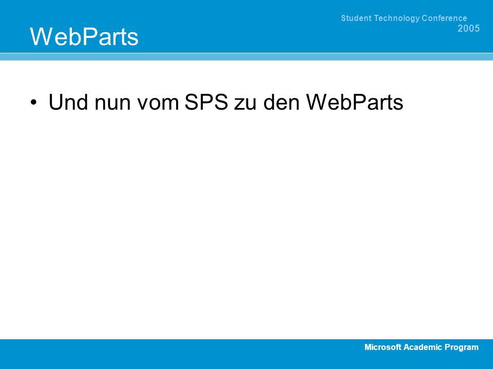 Microsoft Academic Program Student Technology Conference 2005 WebParts Und nun vom SPS zu den WebParts