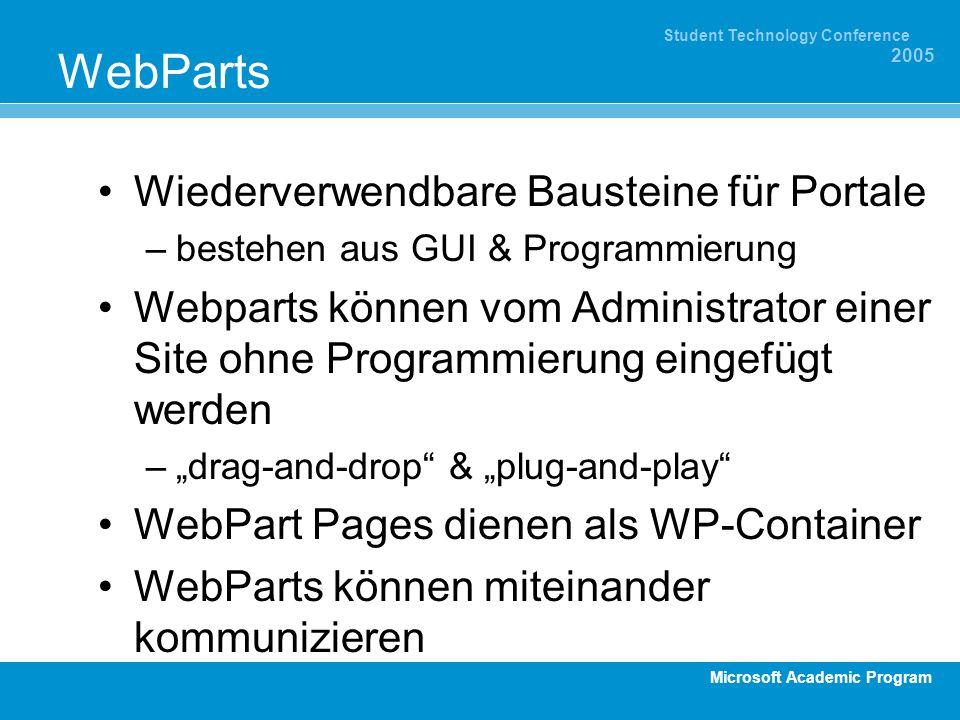 Microsoft Academic Program Student Technology Conference 2005 WebParts Wiederverwendbare Bausteine für Portale –bestehen aus GUI & Programmierung Webparts können vom Administrator einer Site ohne Programmierung eingefügt werden –drag-and-drop & plug-and-play WebPart Pages dienen als WP-Container WebParts können miteinander kommunizieren