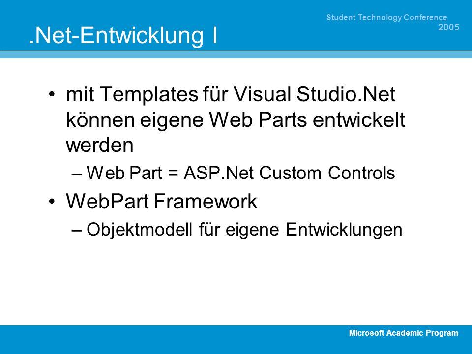 Microsoft Academic Program Student Technology Conference 2005.Net-Entwicklung I mit Templates für Visual Studio.Net können eigene Web Parts entwickelt werden –Web Part = ASP.Net Custom Controls WebPart Framework –Objektmodell für eigene Entwicklungen