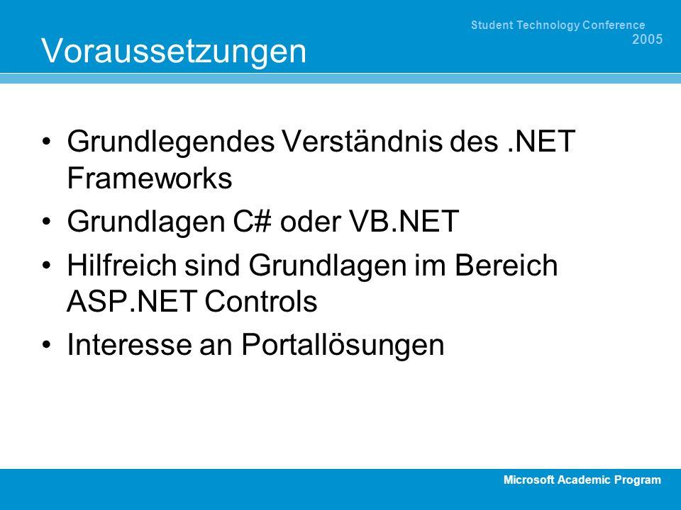 Microsoft Academic Program Student Technology Conference 2005 Voraussetzungen Grundlegendes Verständnis des.NET Frameworks Grundlagen C# oder VB.NET Hilfreich sind Grundlagen im Bereich ASP.NET Controls Interesse an Portallösungen