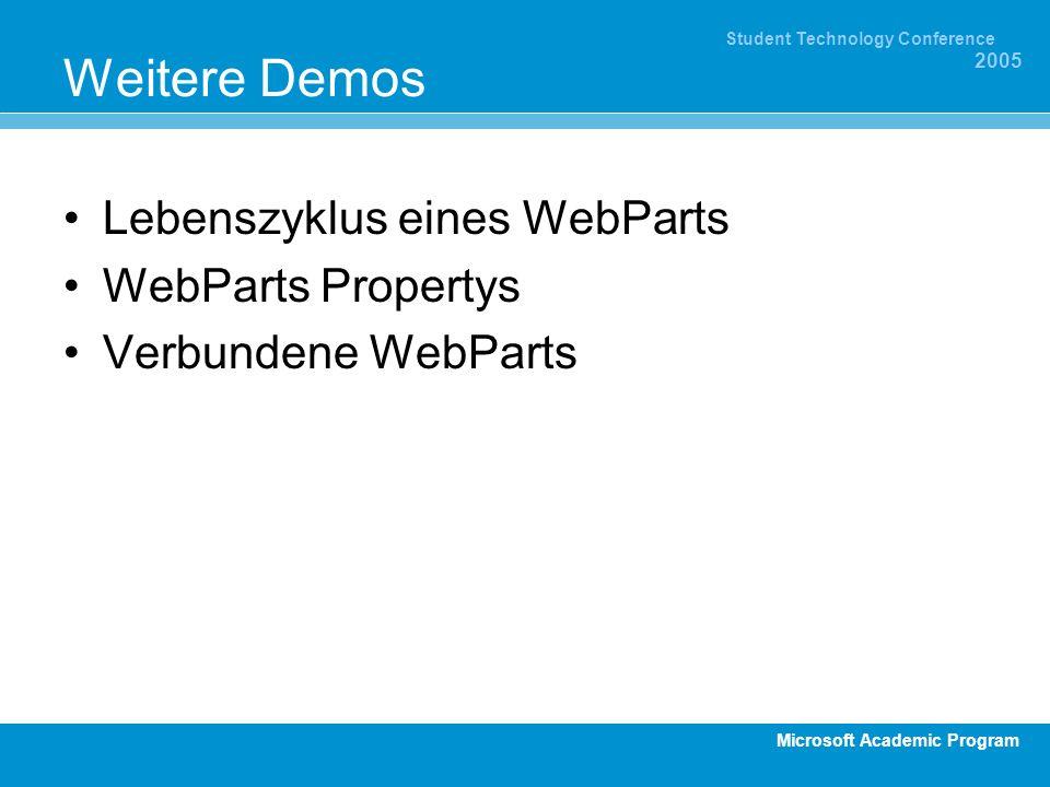 Microsoft Academic Program Student Technology Conference 2005 Weitere Demos Lebenszyklus eines WebParts WebParts Propertys Verbundene WebParts