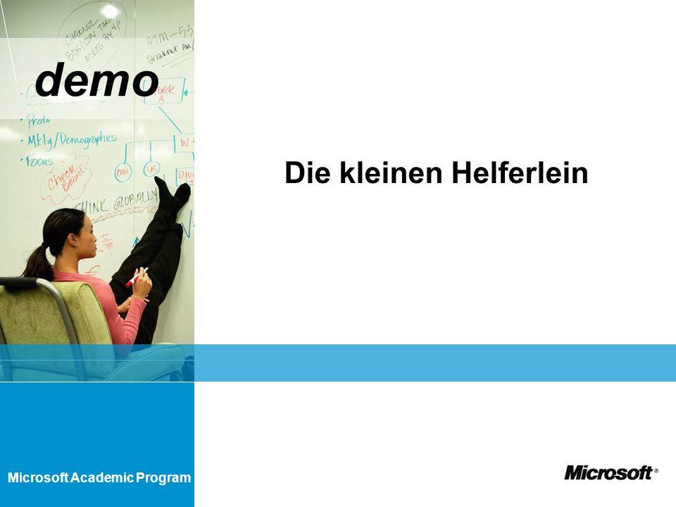 Microsoft Academic Program demo Die kleinen Helferlein