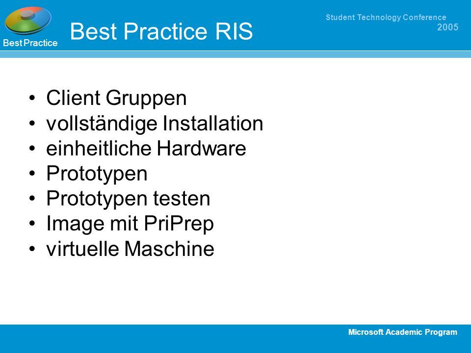 Microsoft Academic Program Student Technology Conference 2005 Best Practice RIS Client Gruppen vollständige Installation einheitliche Hardware Prototy