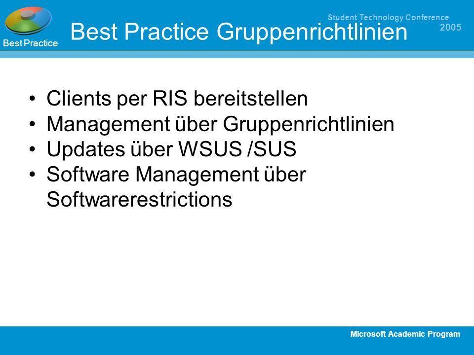 Microsoft Academic Program Student Technology Conference 2005 Best Practice Gruppenrichtlinien Clients per RIS bereitstellen Management über Gruppenri