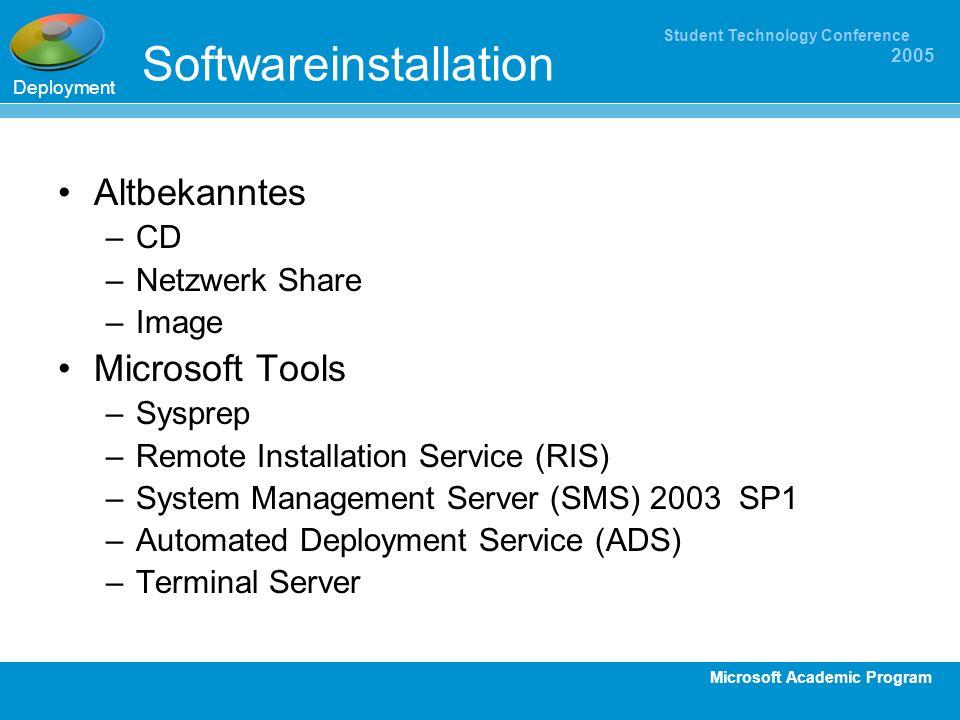 Microsoft Academic Program Student Technology Conference 2005 Softwareinstallation Altbekanntes –CD –Netzwerk Share –Image Microsoft Tools –Sysprep –R