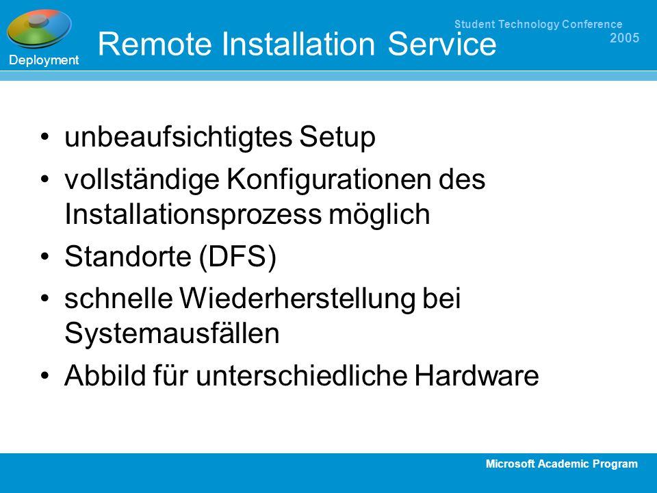 Microsoft Academic Program Student Technology Conference 2005 Remote Installation Service unbeaufsichtigtes Setup vollständige Konfigurationen des Ins