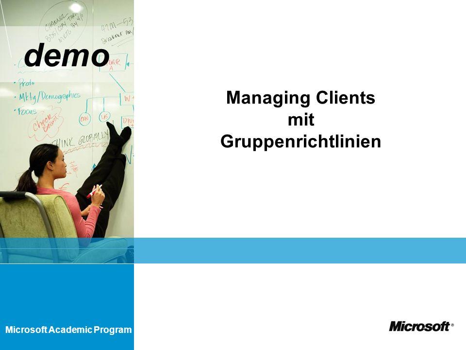 Microsoft Academic Program demo Managing Clients mit Gruppenrichtlinien