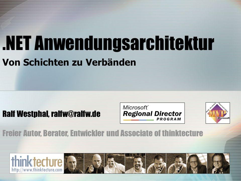 .NET Anwendungsarchitektur Von Schichten zu Verbänden Ralf Westphal, ralfw@ralfw.de Freier Autor, Berater, Entwickler und Associate of thinktecture